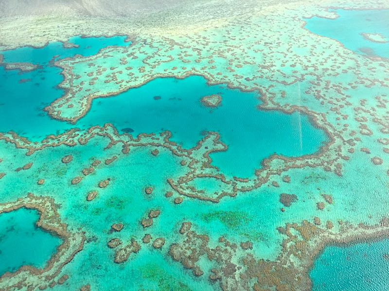 Great Barrier Reef Heart Reef from a helicopter image